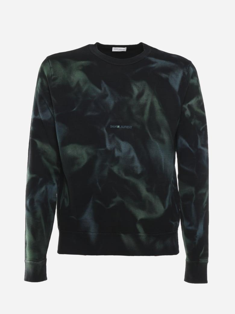 Saint Laurent Cotton Sweatshirt With Tie-dye Motif - Green, black