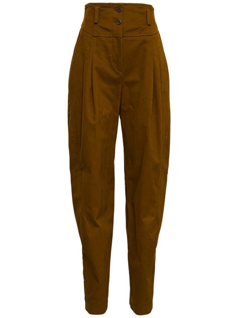 Alberta Ferretti High Waisted Brown Cotton Pants - Brown