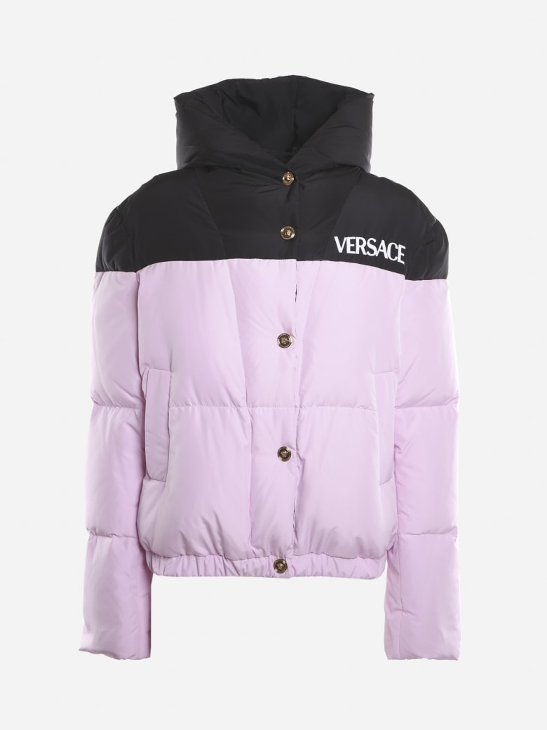 Versace Padded Jacket With Embroidered Contrasting Logo - Black, lilac