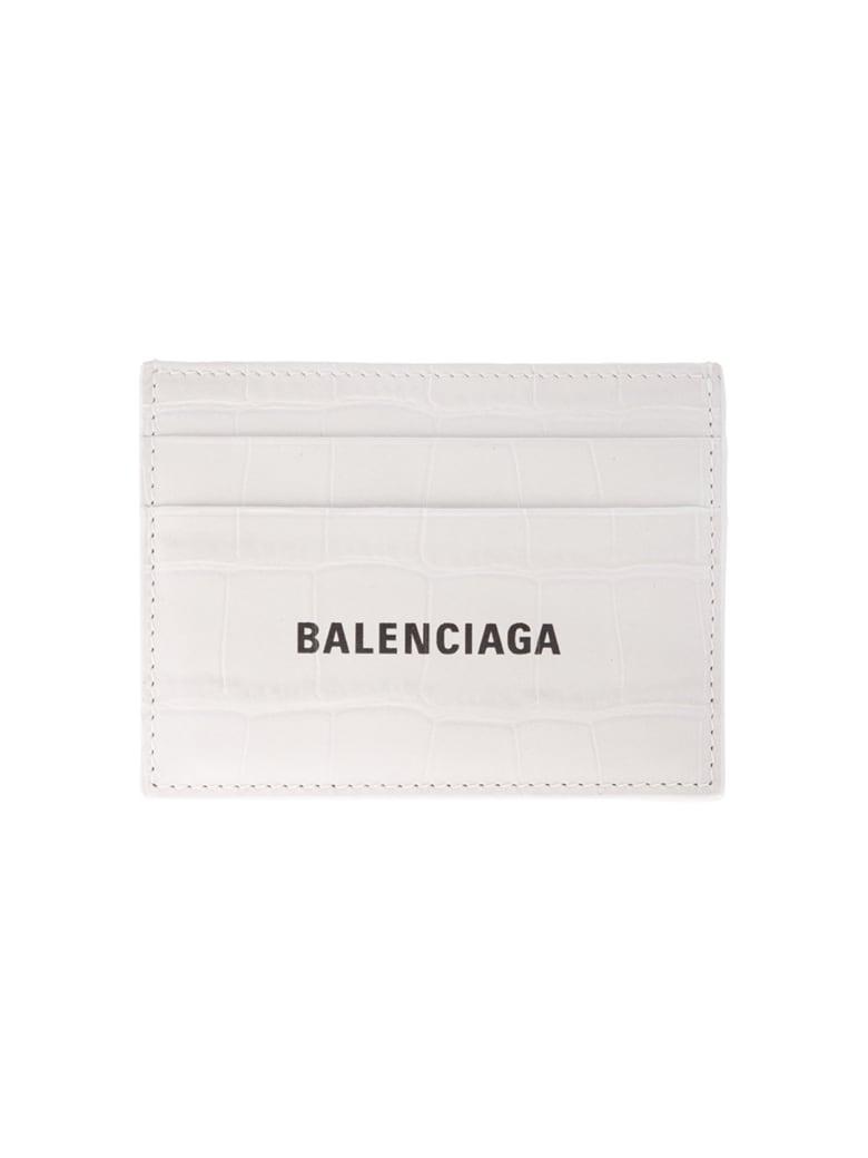 Balenciaga Man Crocodile Embossed White Leather Card Holder With Contrast Logo - White/black
