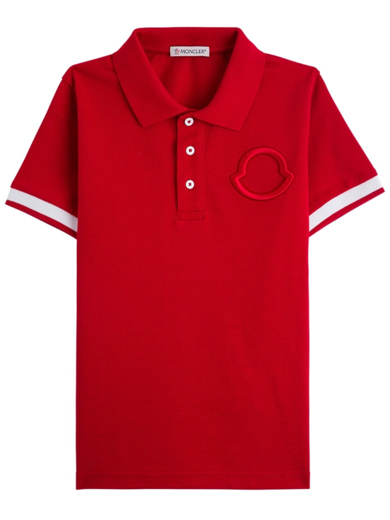 Moncler Red Cotton Polo Shirt With Logo - Red