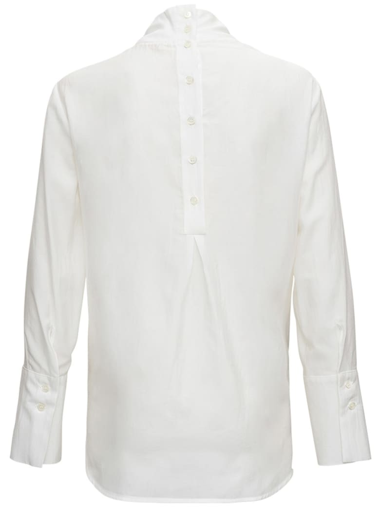 Tela White Silk Blend Blouse With Back Buttons - White