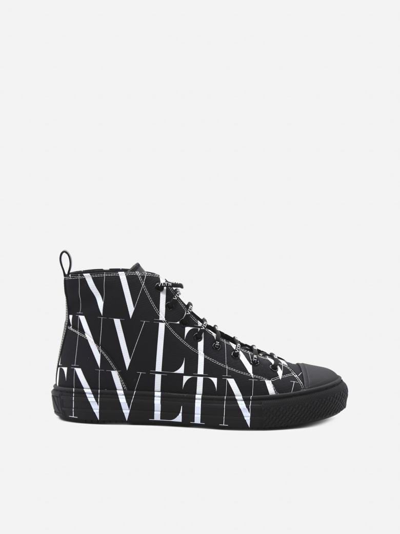 Valentino Garavani Giggies Vltn Times Sneakers With Contrasting Logo Print - Black, white