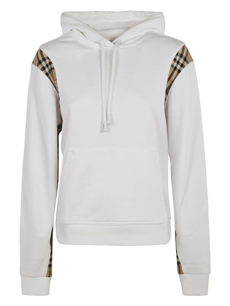 Burberry Check Detail Hoodie - White/Archive Beige