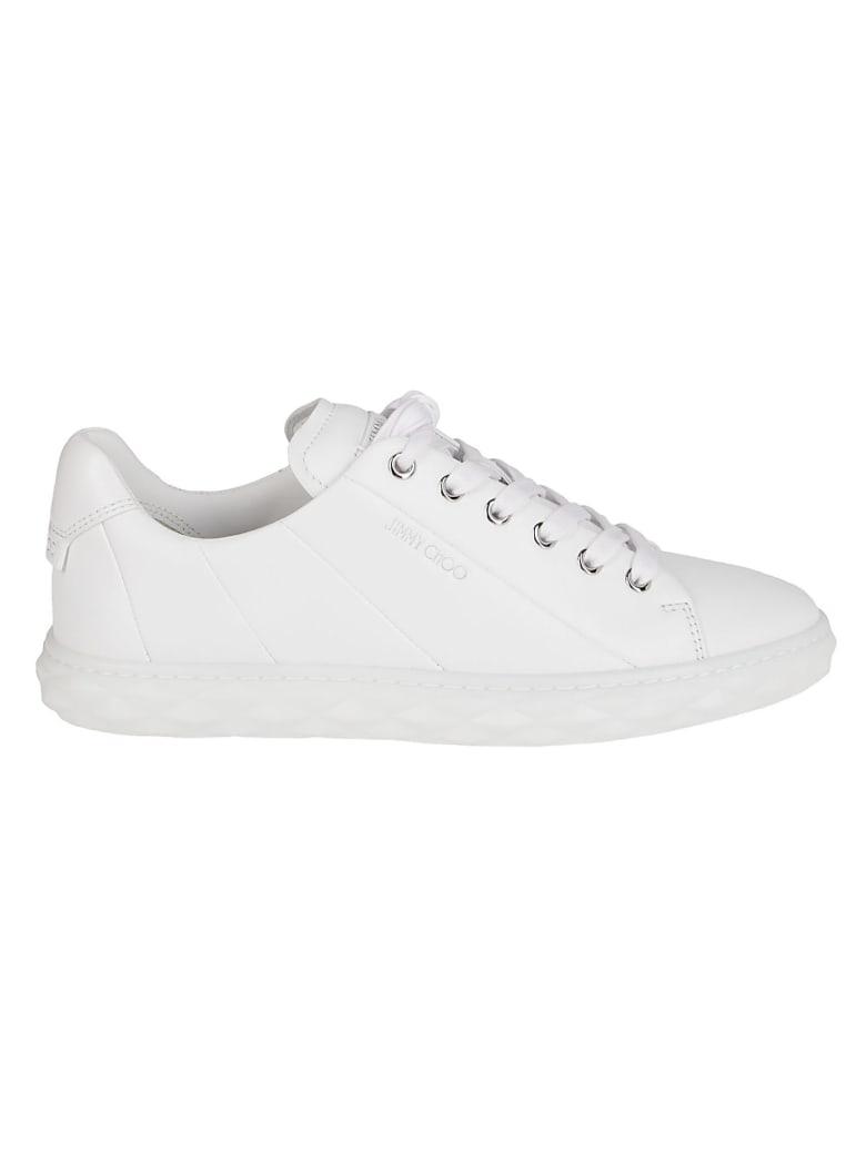 Jimmy Choo White Leather Diamond Light Sneakers - White