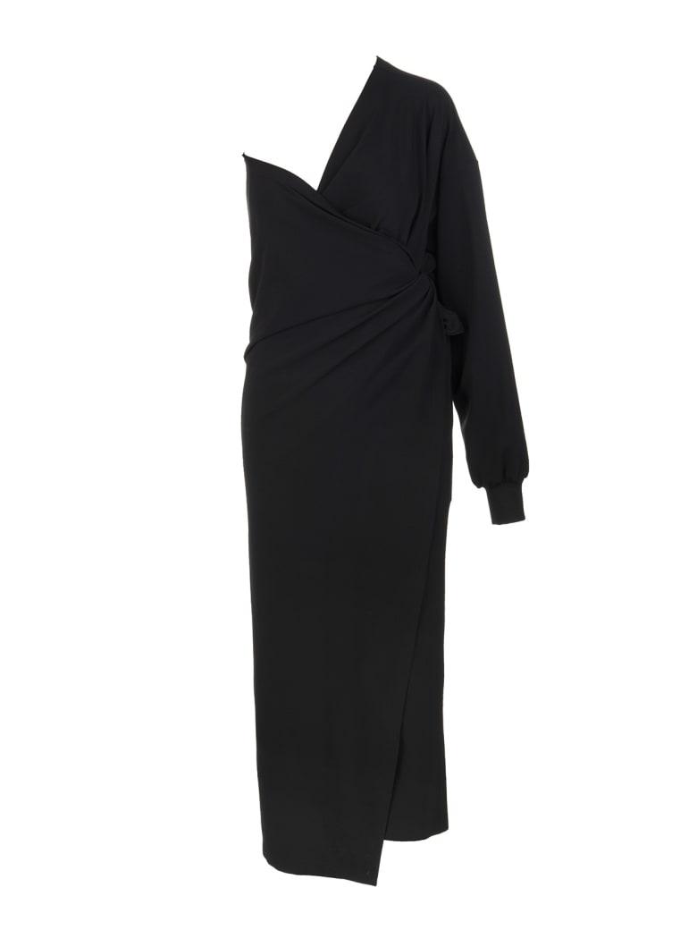 Balenciaga Black Body Wrap Dress - Black