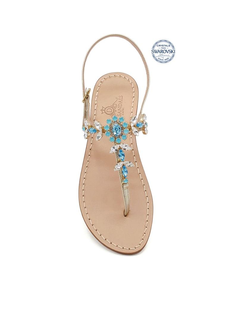 Dea Sandals Marina Grande Flip Flops Thong Sandals - gold, crystal, aquamarine,  aquamarine blue opal