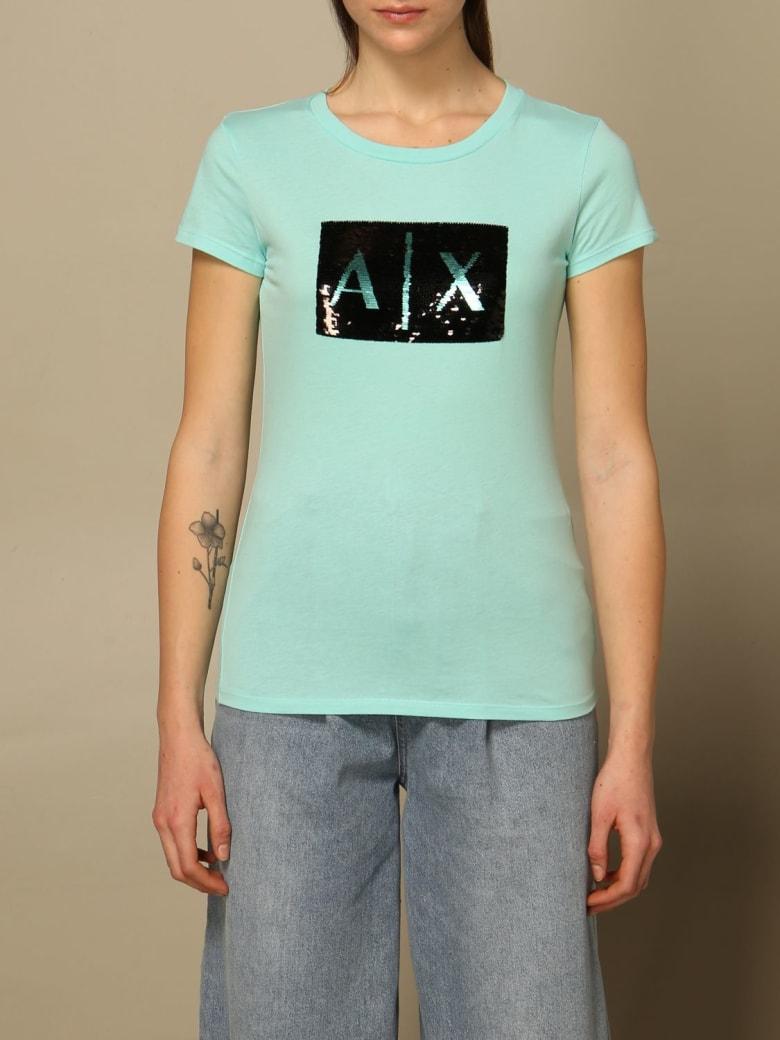 Armani Collezioni Armani Exchange T-shirt Half Sleeve Crewneck Sequin Logo Writing - Water
