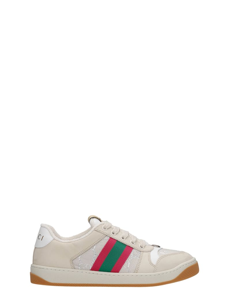 Gucci Sneakers In Beige Suede And Leather - beige