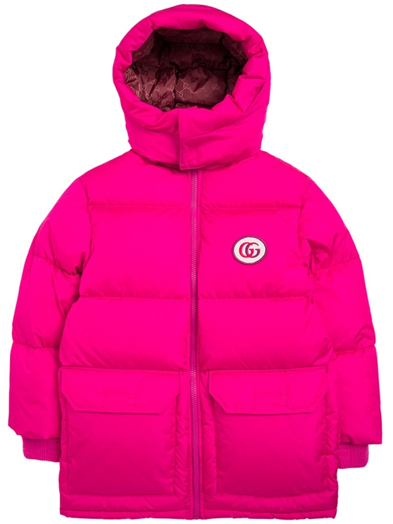 Gucci Pink Nylon Down Jacketì With Logo Patch - Pink