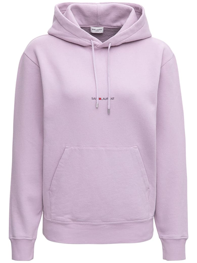Saint Laurent Lilac Jersey Hoodie With Logo - Violet