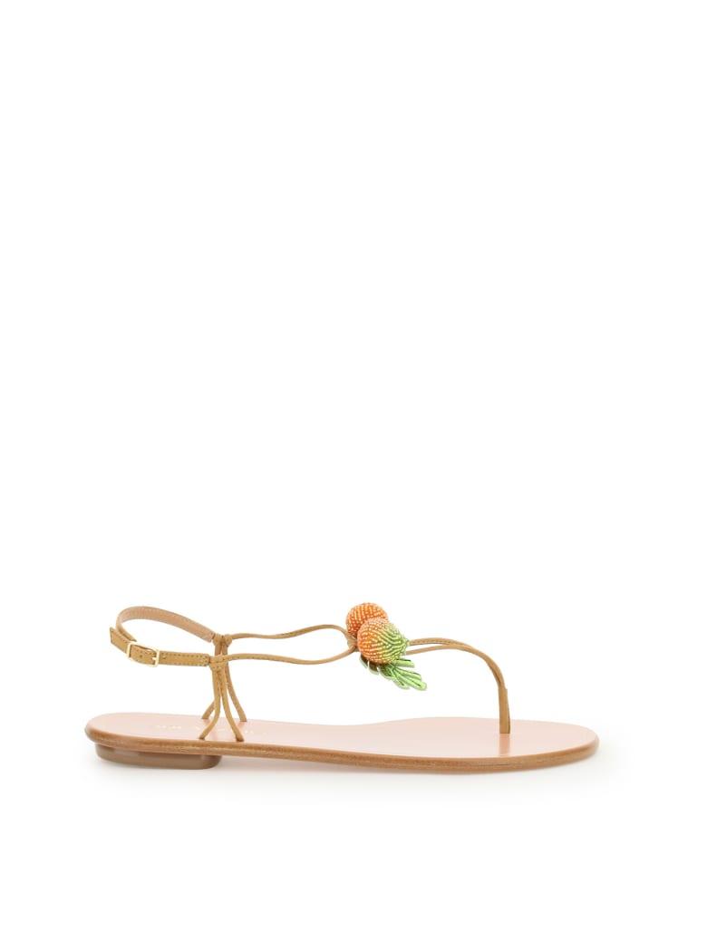 Aquazzura Manguito Flat Sandals - SWEET HONEY (Beige)