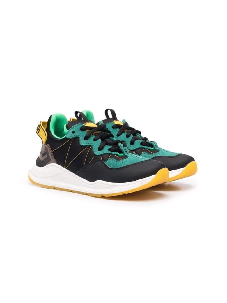 Fendi Child Sneakers With Color-block Design - Nero-tabacco