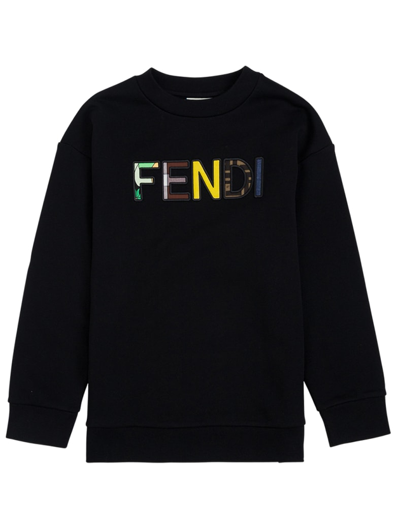 Fendi Black Cotton Sweatshirt With Logo - Black
