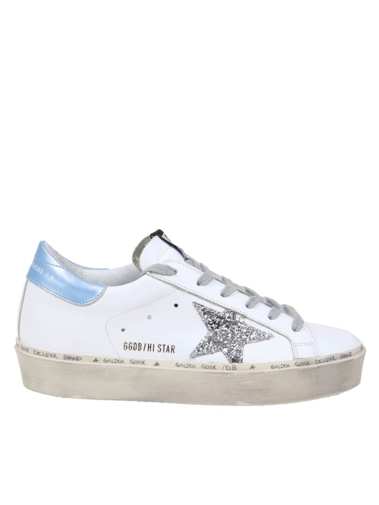 Golden Goose Hi Star Sneakers In White Leather - Bianca