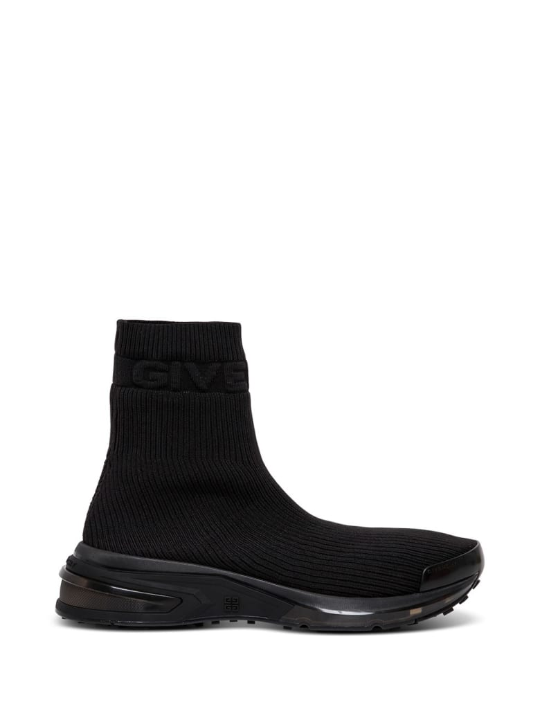 Givenchy Sock Sneakers In Black Ribbed Knit - Black