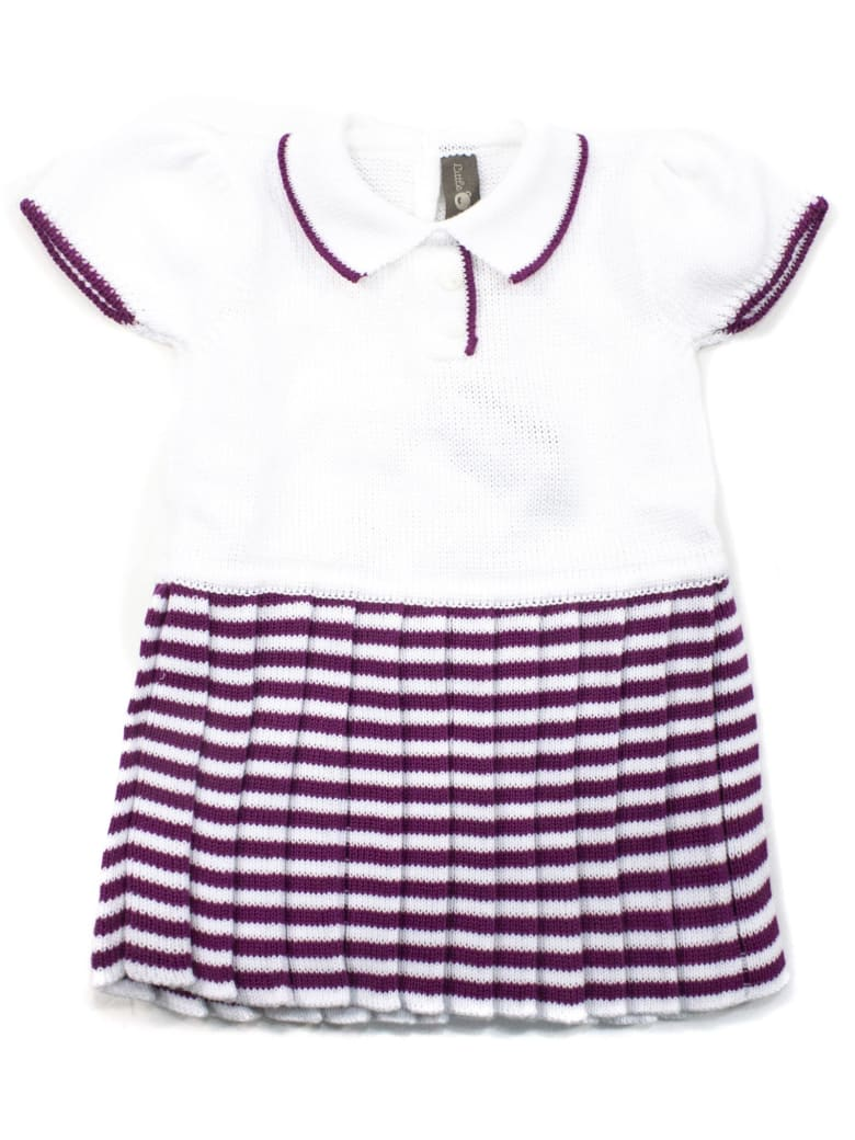 Little Bear White Cotton Dress - Bianco+prugna