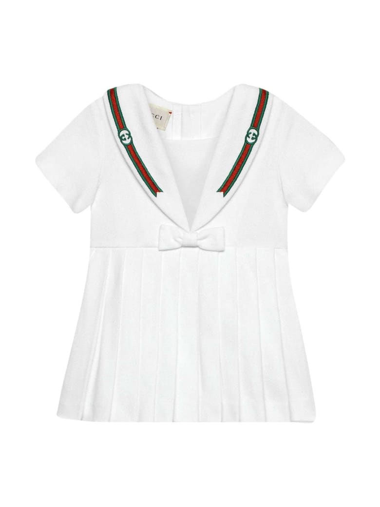 Gucci White Dress With Bow And Multicolor Details - Bianco