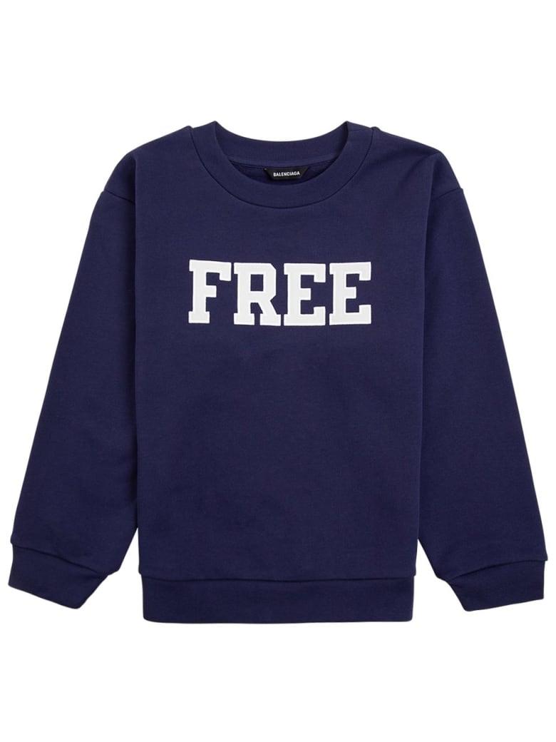 Balenciaga Blue Cotton Sweatshirt With Print - Blu