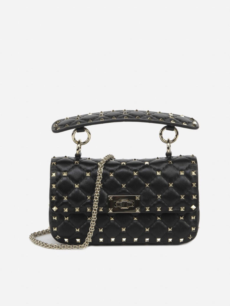 Valentino Garavani Small Rockstud Spike Bag In Quilted Leather - Black