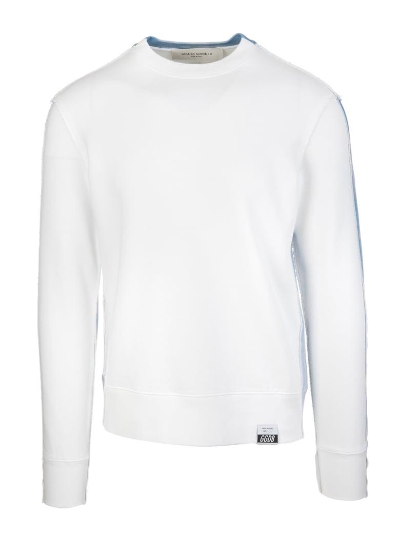 Golden Goose White Man Archibald Sweatshirt - White/light blu
