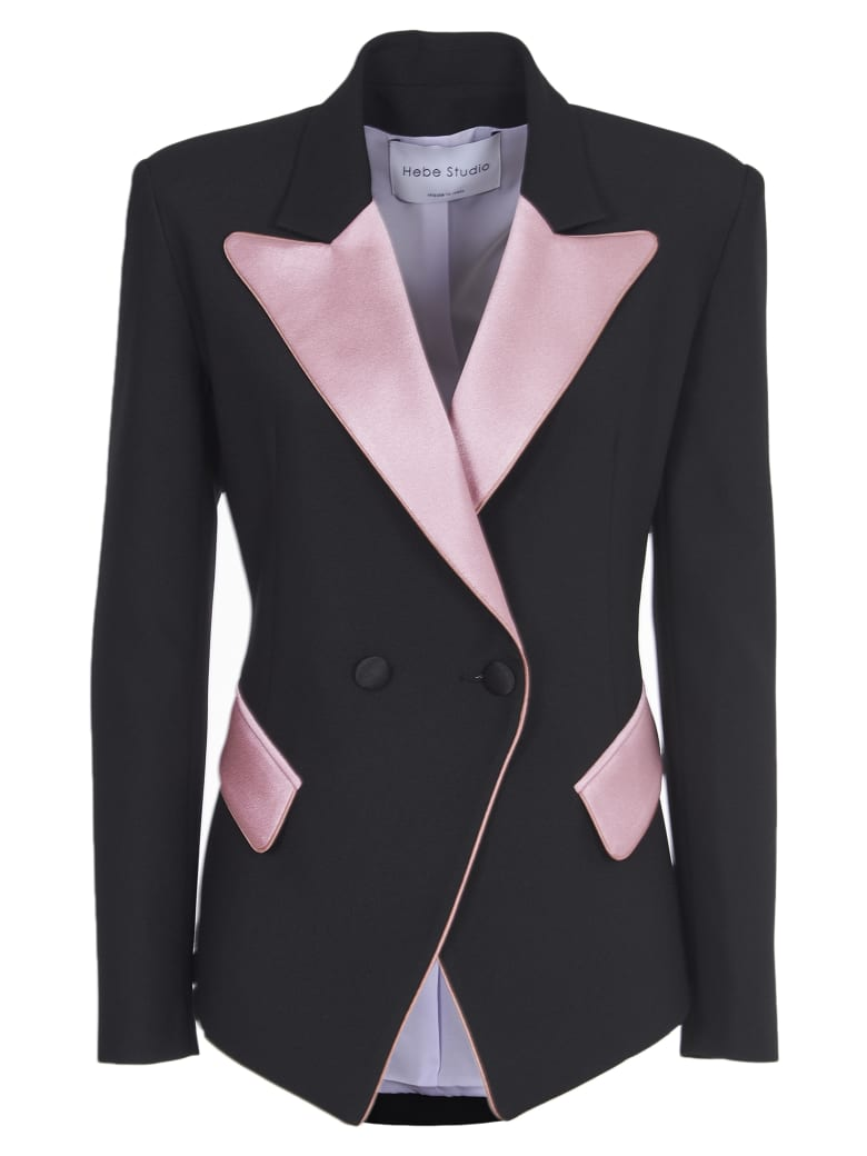 Hebe Studio Black And Pink Blazer - Black