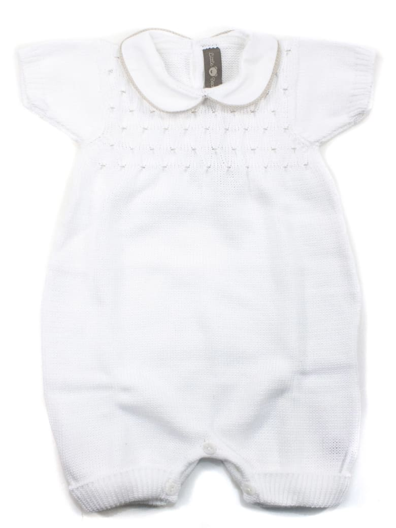 Little Bear White Cotton-blend Romper - Bianco+tortora