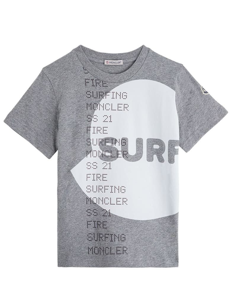 Moncler Gray Jersey T-shirt With Print - Grey