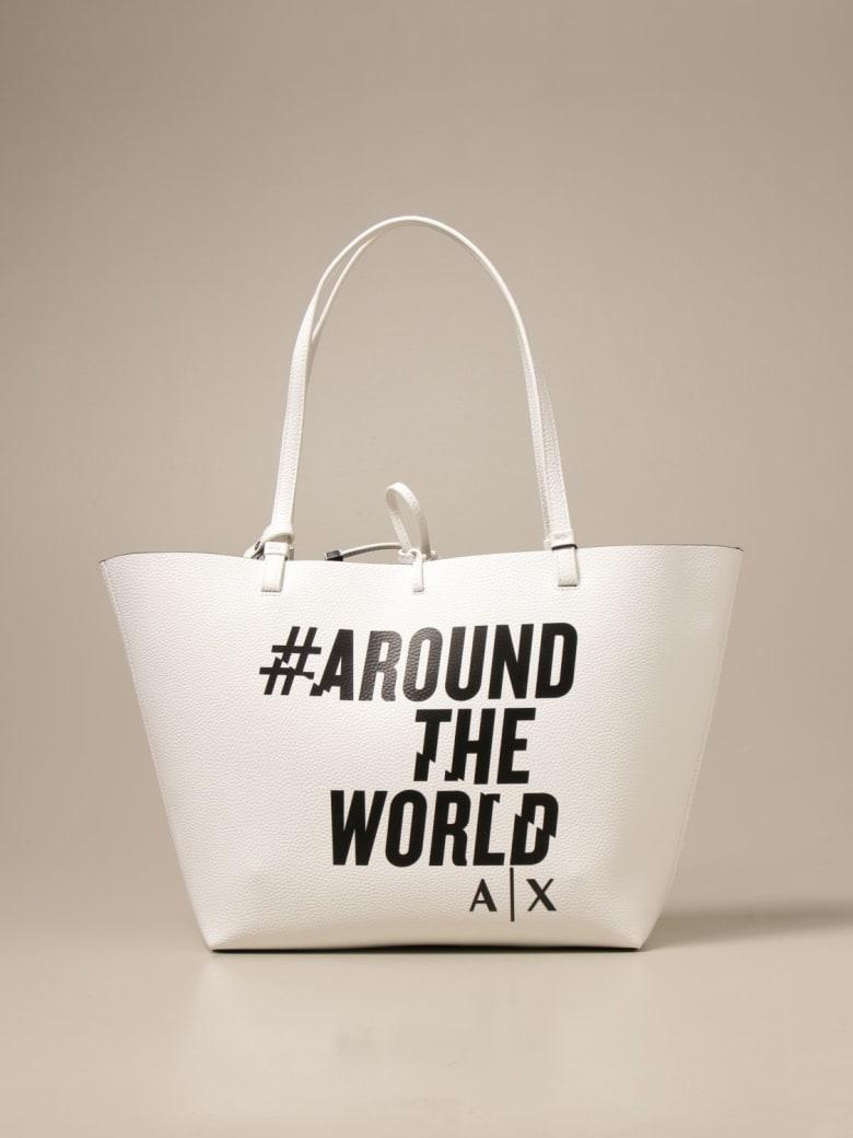 Armani Collezioni Armani Exchange Shoulder Bag Armani Exchange Reversible Shoulder Bag In Synthetic Textured Leather - Yellow Cream