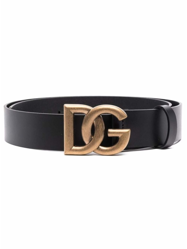Dolce & Gabbana Black Leather Belt With Dg Buckle - Black