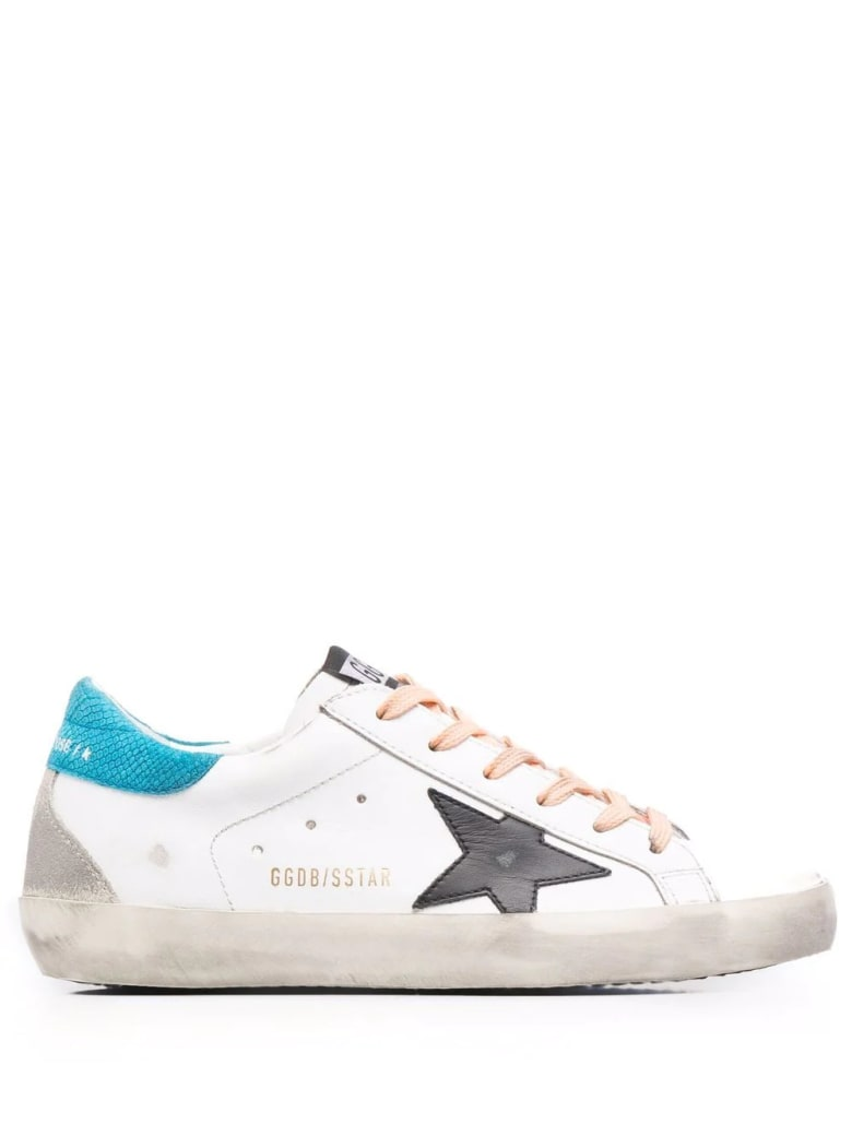 Golden Goose Woman White Super-star Sneakers With Peach Pink Laces, Black Star And Spoiler In Light Blue Fabric