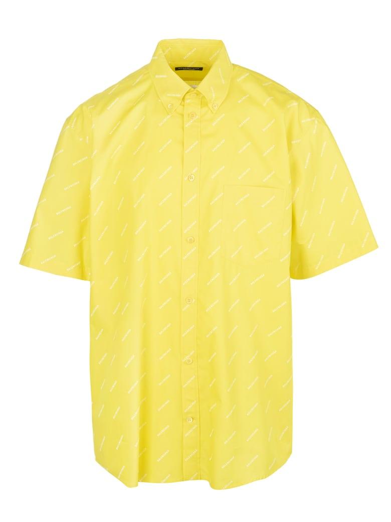 Balenciaga Yellow Shirt With White All-over Logo - Yellow/white