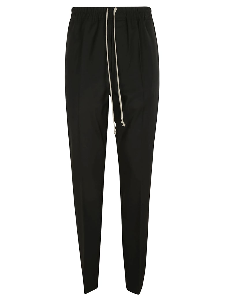 Rick Owens Slim Drawstring Long Trousers - Black