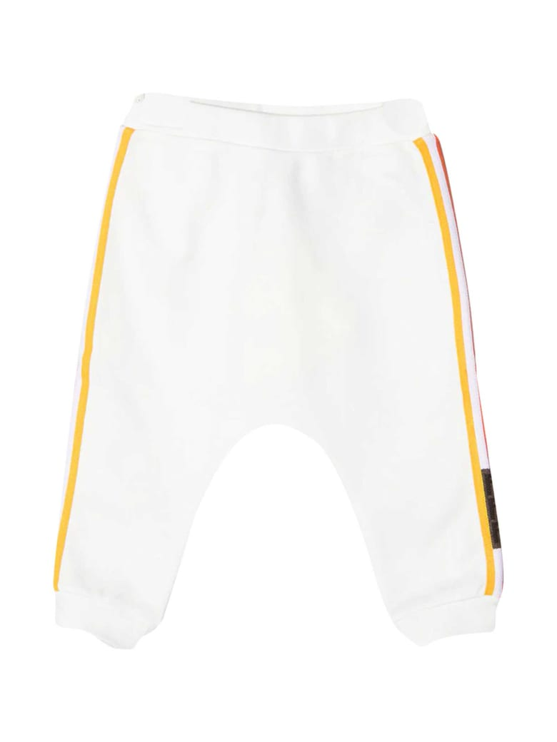 Fendi White Trousers With Side Multicolor Bands - Bianco/rosa