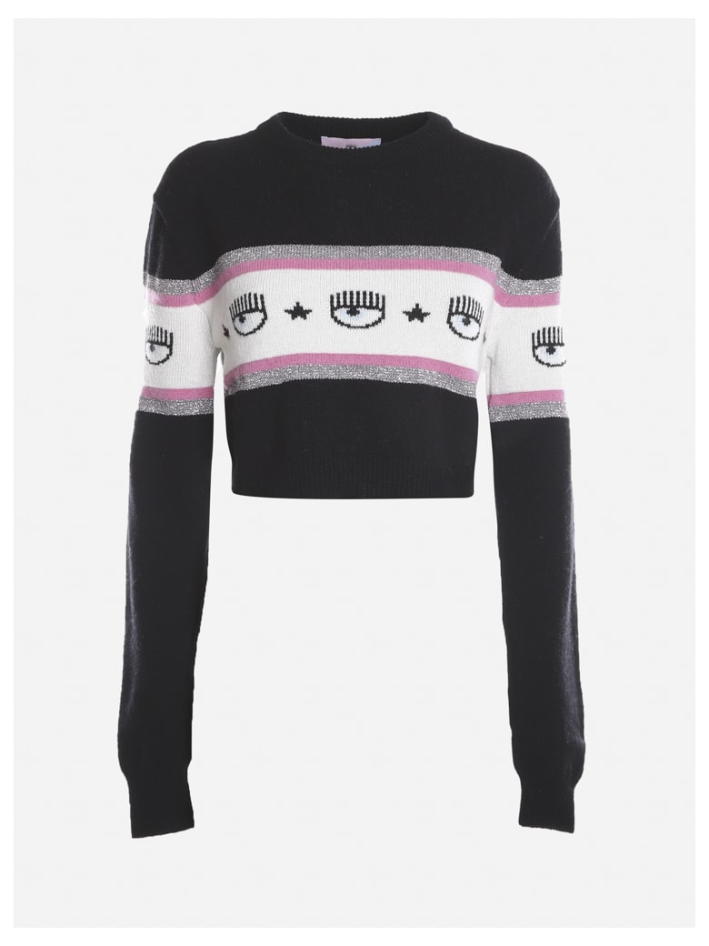 Chiara Ferragni Wool And Cashmere Sweater With Inlaid Knit Logo - Black, white