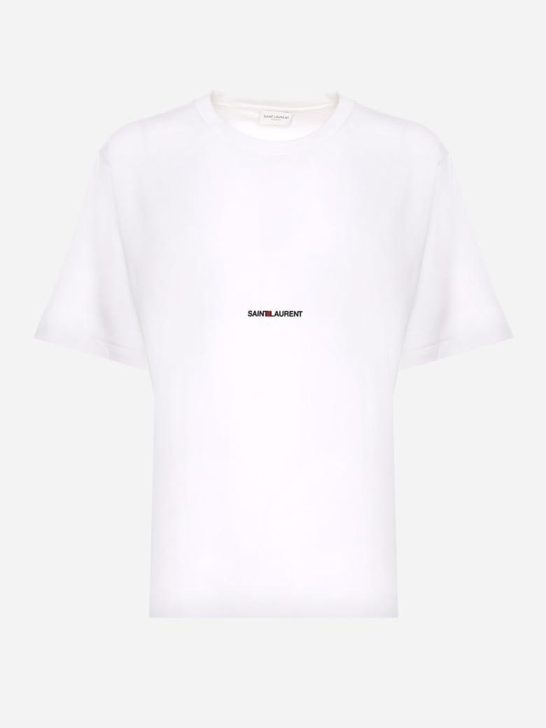 Saint Laurent White Cotton T Shirt With Logo Print - White