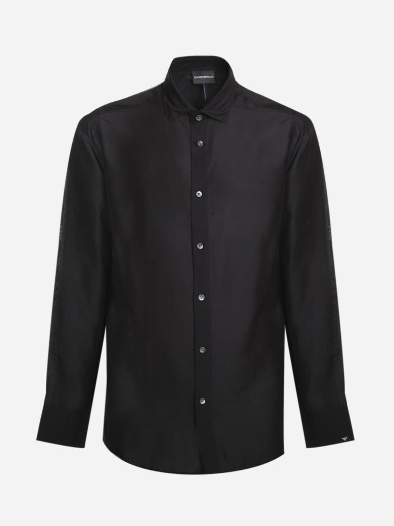 Emporio Armani Basic Shirt Made Of Silk Blend - Nero