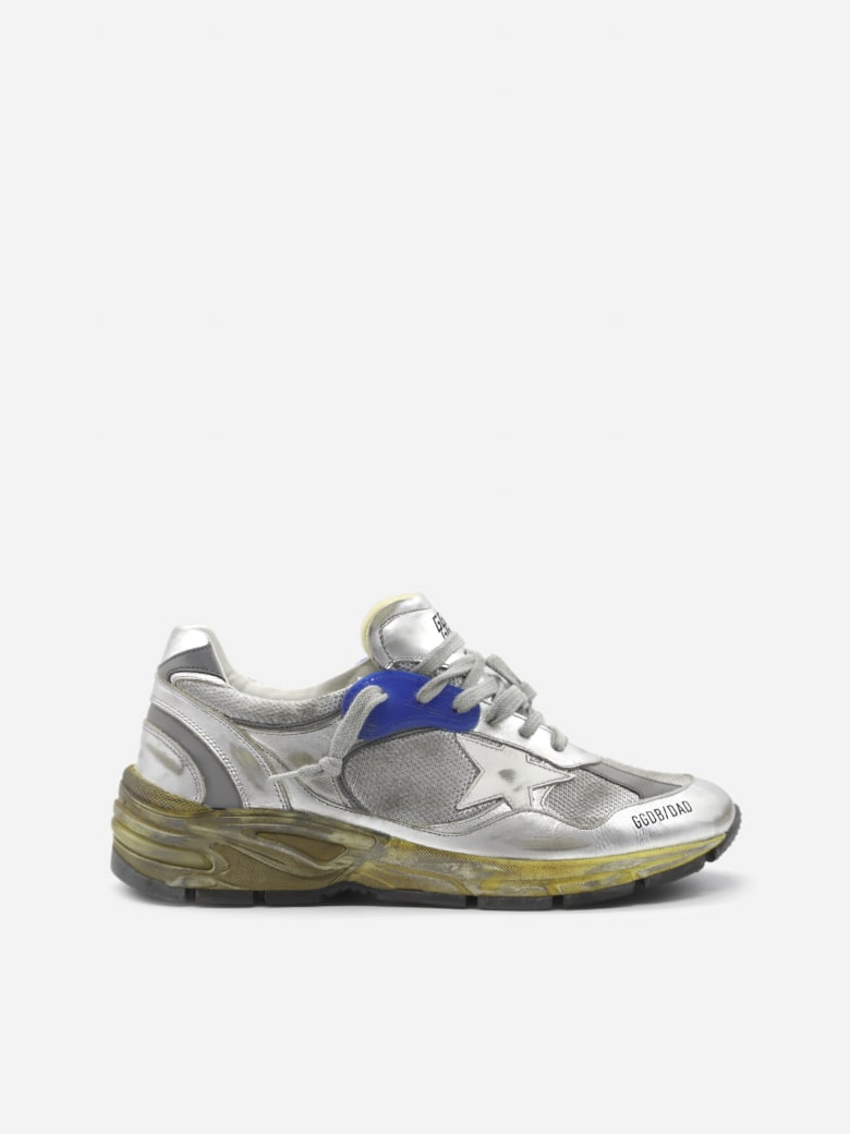 Golden Goose Dad-star Sneakers In Leather With Distressed Effect Finishes - Silver