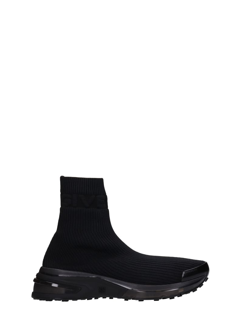 Givenchy Giv Log Sock Sneakers In Black Synthetic Fibers - black