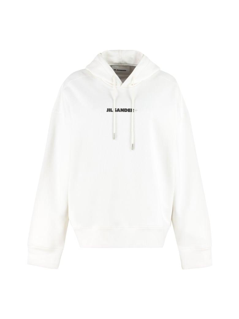 Jil Sander Logo Cotton Hoodie - White
