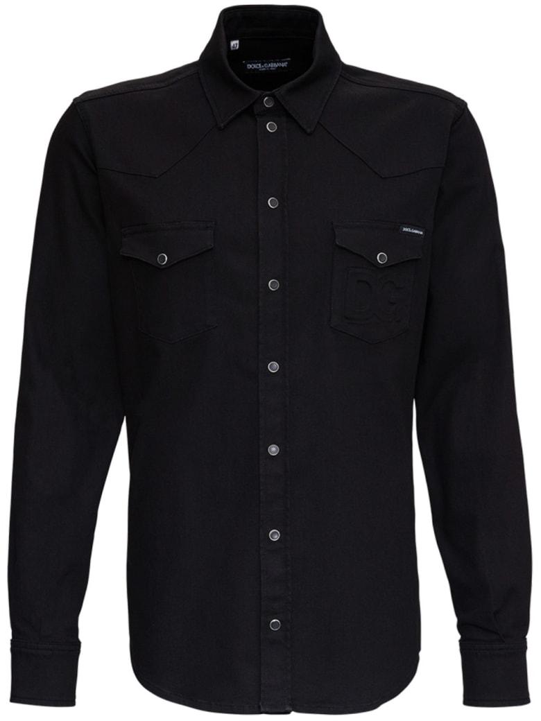 Dolce & Gabbana Black Cotton Shirt With Logo - Black