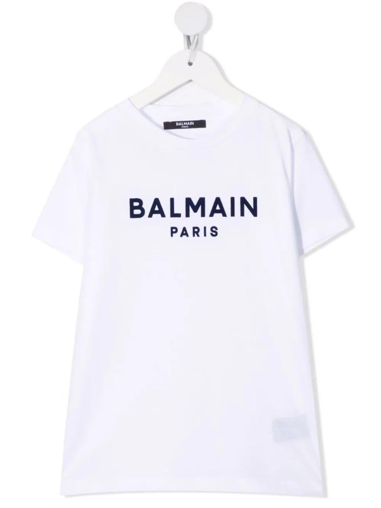 Balmain Kids White T-shirt With Black Velvet Logo