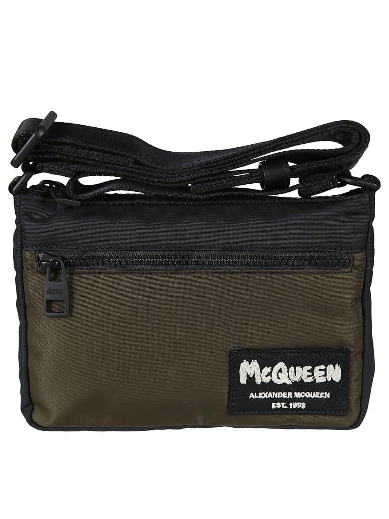 Alexander McQueen Logo Patched Zip Shoulder Bag - Nero