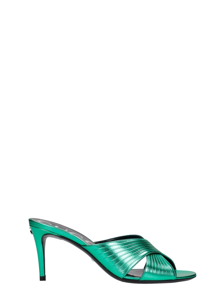 Gucci Sandals In Green Leather - green