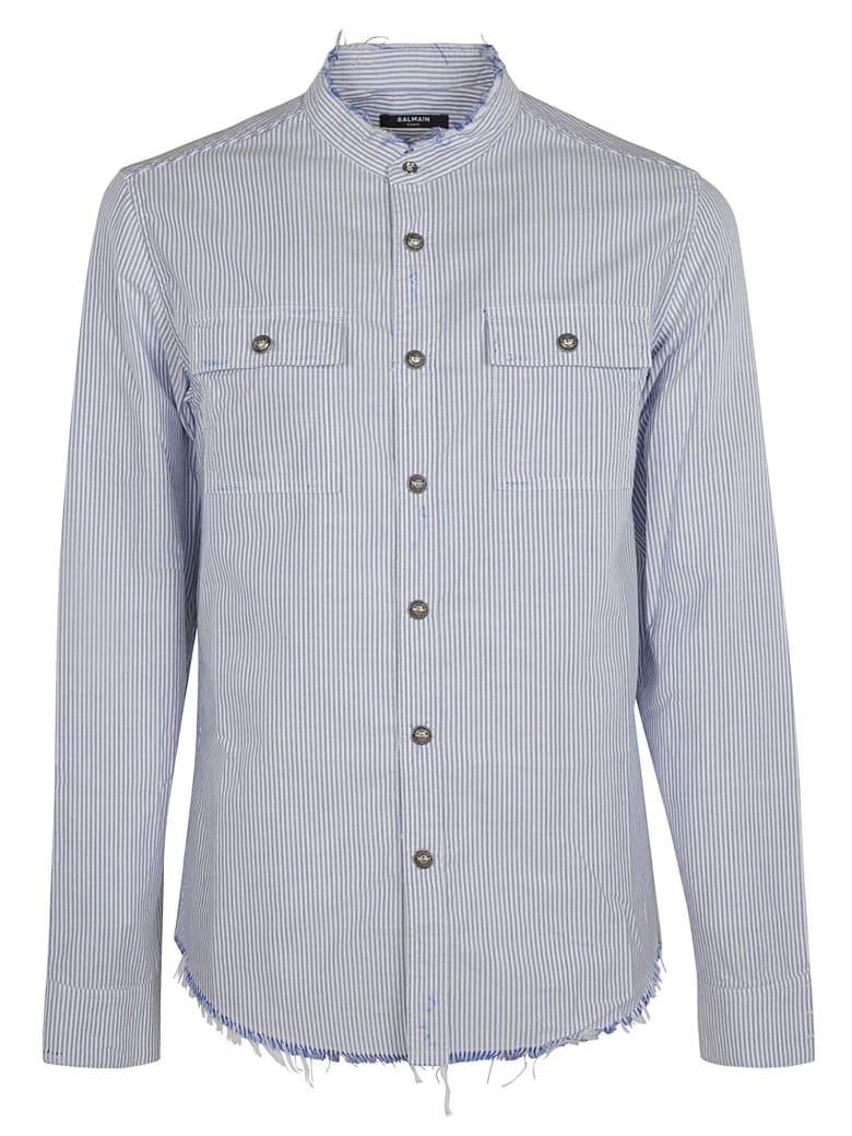 Balmain Frayed Edges Stripe Shirt - Azure