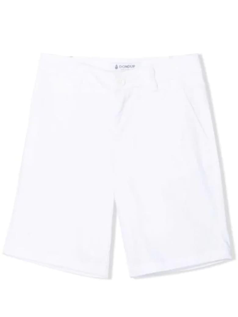 Dondup White Cotton Chino Shorts - Bianco
