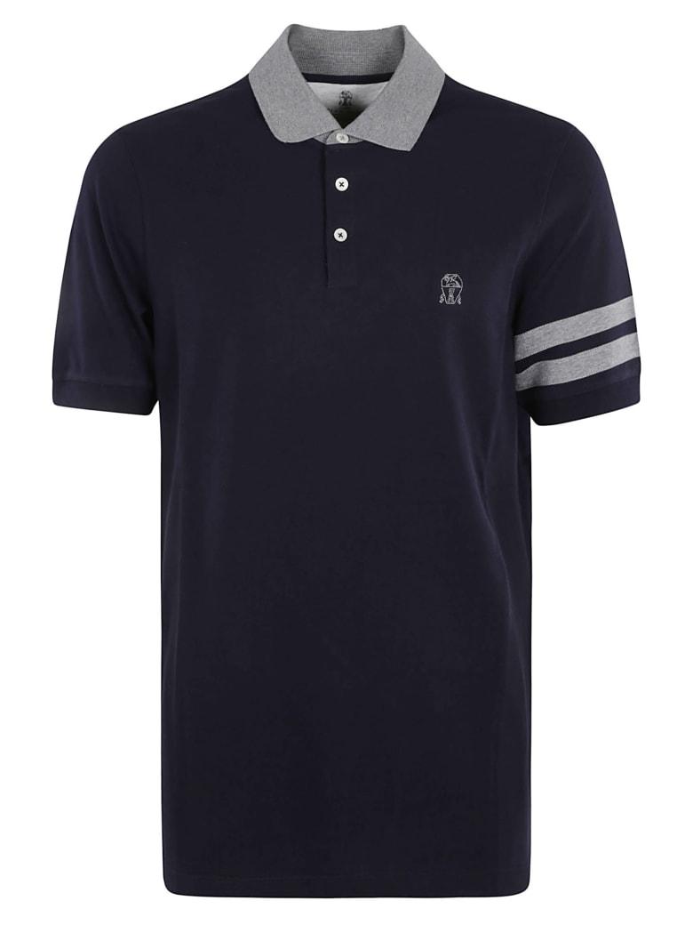Brunello Cucinelli Stripe Detail Logo Polo Shirt - Blue