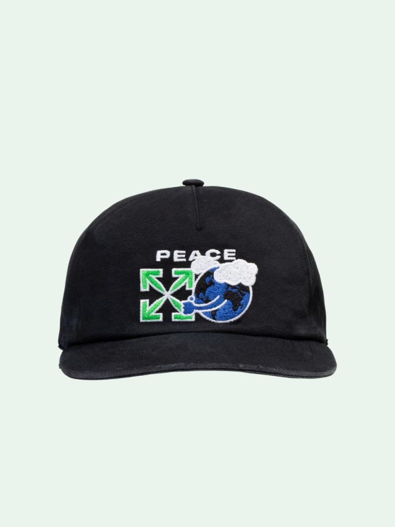 Off-White Cotton Cap With Peace Worldwide Embroidery - Black