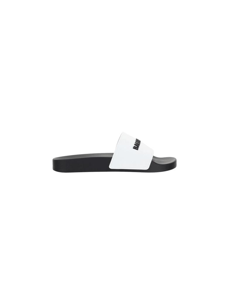 Balenciaga Pool Slide Shoes - White/black