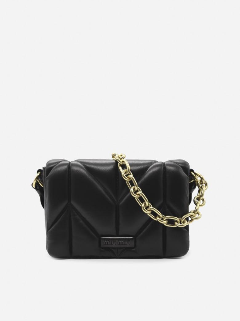 Miu Miu Shoulder Bag In Quilted Leather - Black